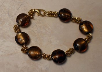 Byzantine Links & brwon foil glass bracelet