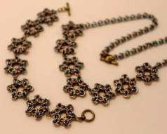 C106 champagne & blue star necklace & bracelet