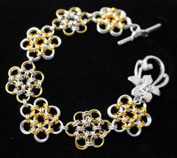C110 japanese weave silver and gold colour chainmaille bracelet