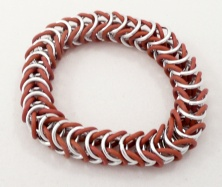 C51 stretchy rubber o ring bracelet brown and silver rings