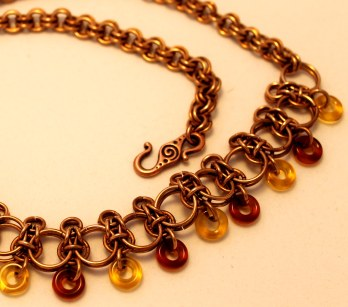 C82 bronze chainmaille heavy necklace with amber, citrine donut beads