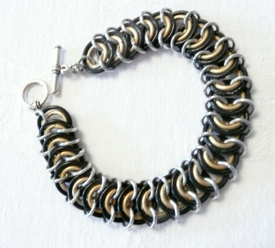 C88 Brown gold and silver chainmaille rings in Kingscale weave bracelet