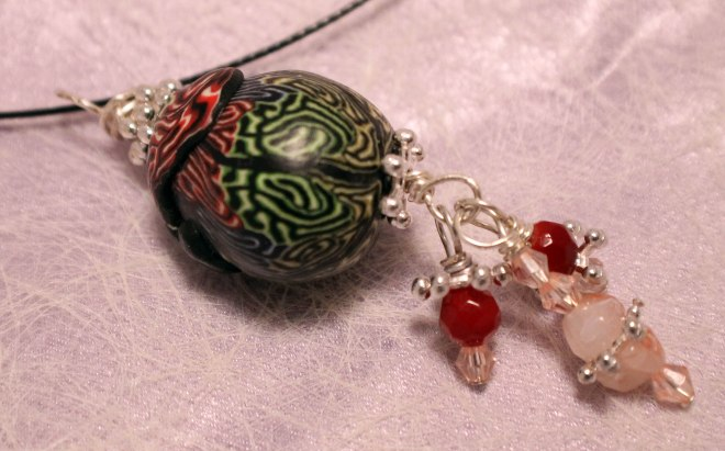 IMG_6325 Polymer clay acorn shaped pendant with SP wire wrapped dangles & spacers