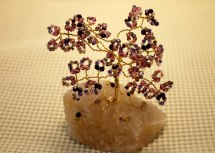 Purple seed bead tree wire wrapped gold